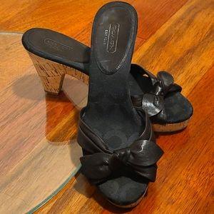 COACH Karen dark brown Leather Bow Slide Mules